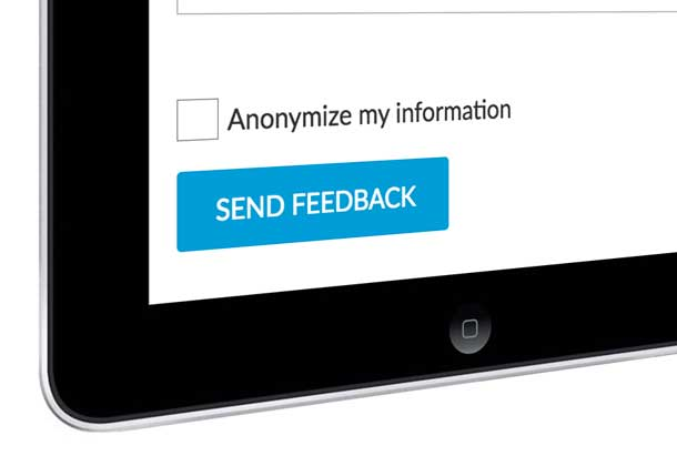 Smartphone screen with a checkbox for Anonymize my Information and a Submit button.