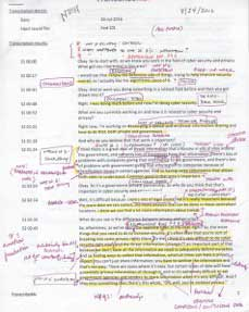 Document marked up with notes and highlighting.