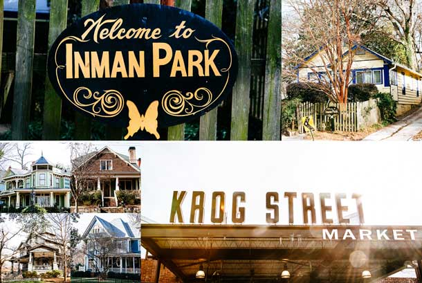 Images of Inman Park's sights: Welcome Sign with yellow butterfly, examples of typical homes in the area and Krog Street Market