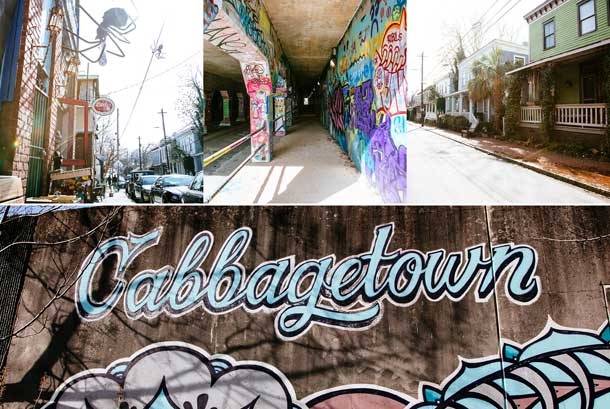 Images of Cabbagetown street art, homes, and Little's Food Store.