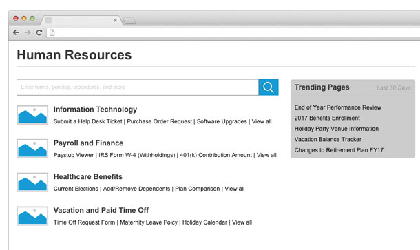 Human resources portal with links to different departments.