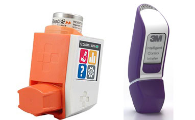 Photos of two different smart inhalers with screens and sensors