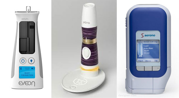 Photos of three different smart autoinjectors