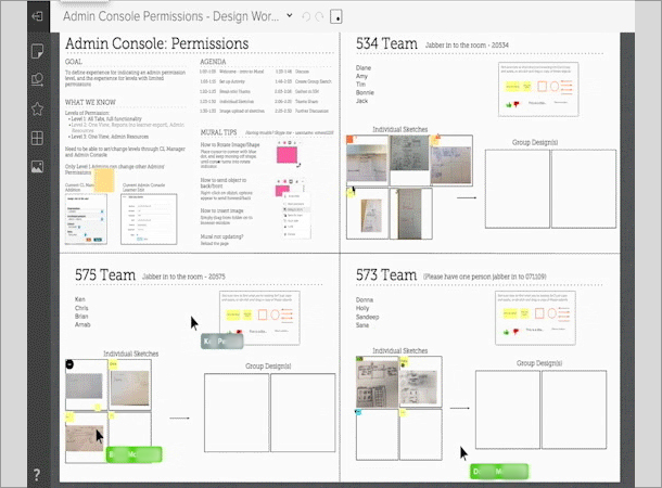 Digital white boarding space that allows collaborators to upload images, take notes, and comment.