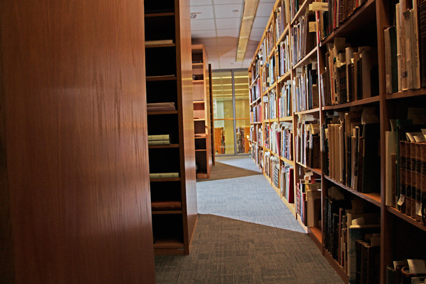 Photo of a bookshelves in a library