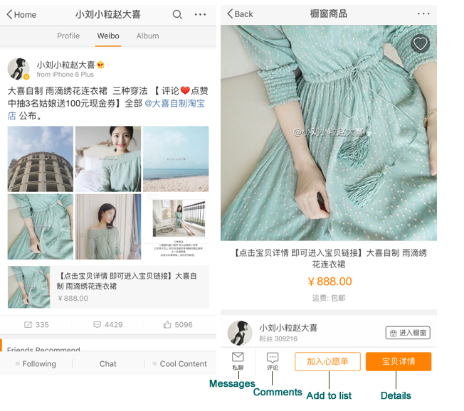 Alt text. Screenshots displaying two Weibo posts by a designer who is now an Internet celebrity. Posts show a product listing and a product close-up.