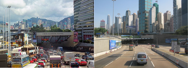 Side by side comparison of the Central and Western Tunnels in Hong Kong to demonstrate the differences in how each are used.