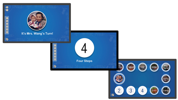 Three images showing the three steps in the game.