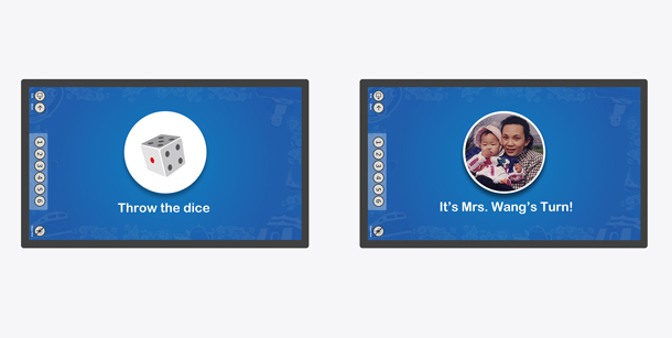 Two images showing regular dice and new dice with player photos.