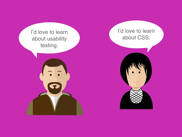 Illustration of a developer and designer with speech bubbles indicating they want to learn about each other's disciplines