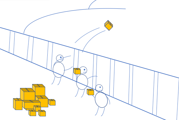 Cartoon drawing of people throwing small objects over a wall.