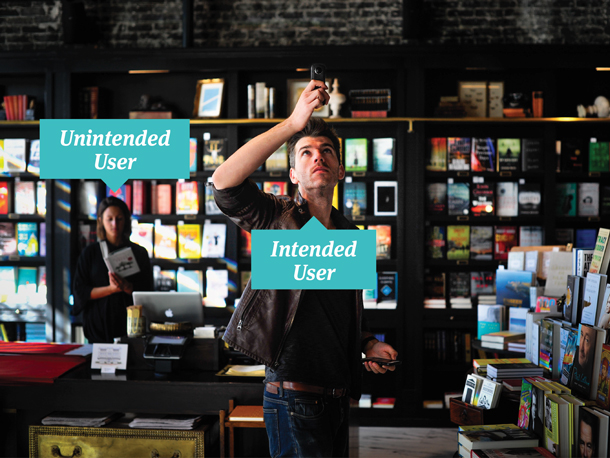 Image showing intended users with devices in foreground and unintended users in the background