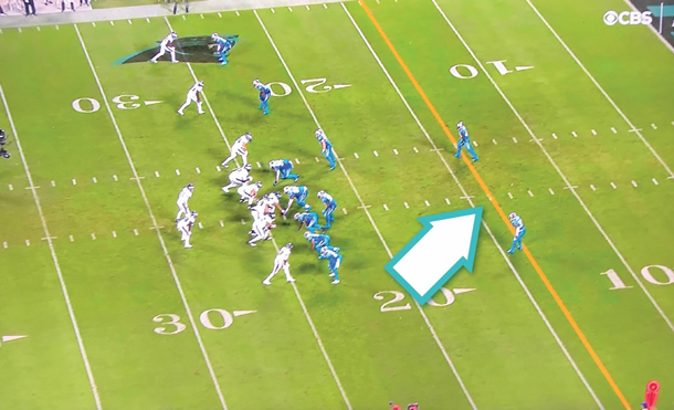 Image of yellow line in an NFL game, which helps TV viewers better understand the team's goal by marking it on the field.
