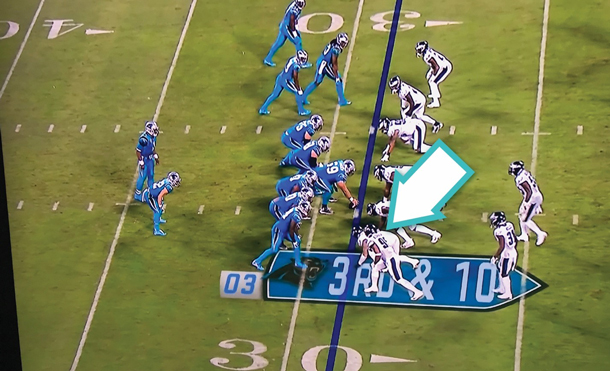 Image of more complex version of the yellow line in an NFL game