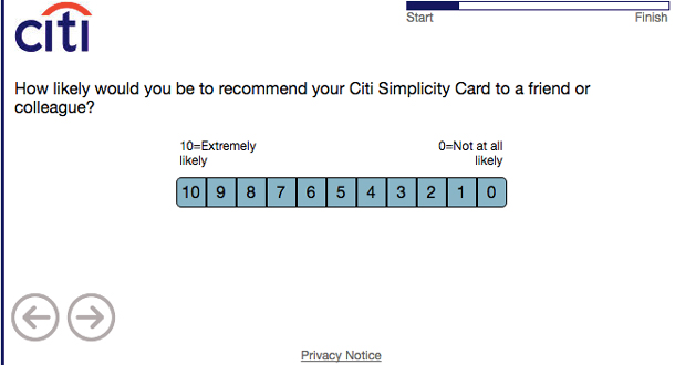 Screenshot of a survey asking how likely you'd be to recommend your Citi Simplicity Card to a friend or colleague.