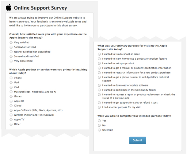 Screenshot from an Apple survey starting with general questions and narrowing in on specifics