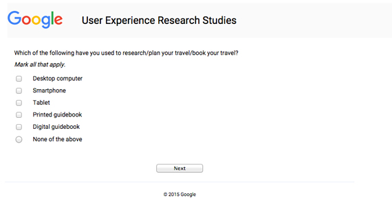 Screenshot of a survey asking what you've used for planning travel.