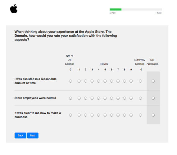 Screenshot of a survey asking to rate satisfaction on a scale of 0-10