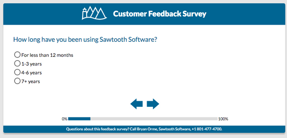 Survey asking how long you've been using Sawtooth Software