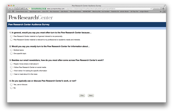 Screenshot of an audience survey by Pew Research.