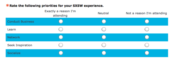 Screenshot of a survey asking to rate the following priorities for your SXSW experience.