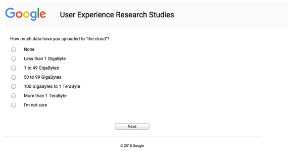 """Screenshot of a survey asking how much data you've uploaded to """"the cloud""""."""