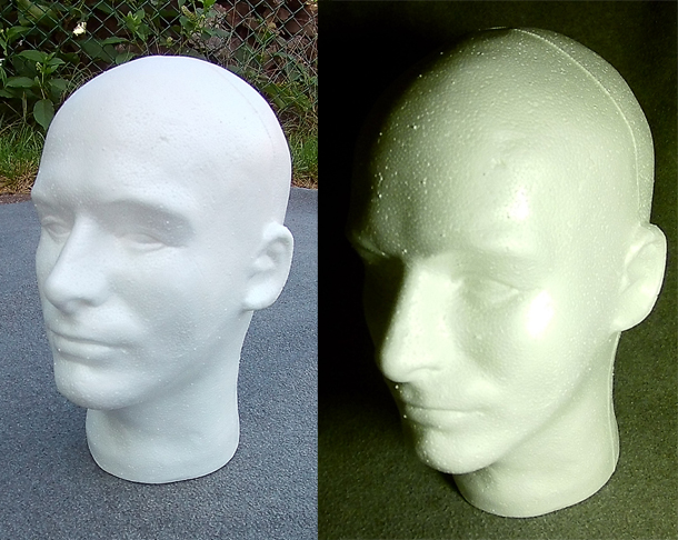 Photograph showing two colors of white light on a styrofoam head