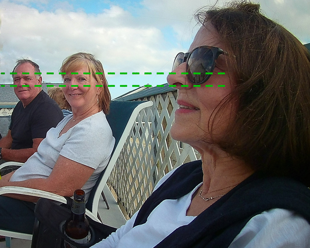 Photograph of three people with diagram show how their eyes are aligned laterally on the horizon