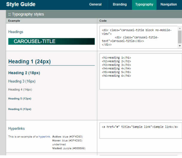 screen shot of a style guide site, open to the Typography tab.