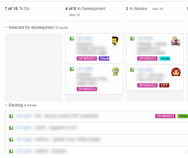 Tasks are shown in Jira, but many are blurred out.