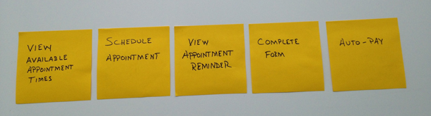 Photo of 5 sticky notes arranged in a row from left to right