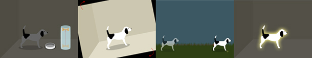 Four panels showing different types of interaction prompts: one with a dog and a bowl, next to an animation of a bone sliding up a container to prompt children to do that motion; one with a dog tilted onscreen to prompt children to shake the screen; one with a shadowed dog pointing toward a solid dog to prompt children to swipe across the screen; and the last, with a dog with a glowing outline to prompt children to tap the dog.