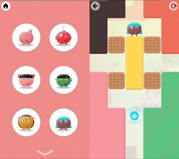 """(left) Thinkrolls application screenshot showing six round targets with different """"monsters"""" inside them. (right) Thinkrolls application screenshot showing a monster in a maze with simple graphics and large target areas."""