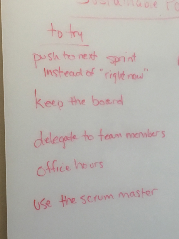 whiteboard text from an Agile retrospective.