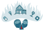 An image conveys a couple imagining their house burning down after seeing a troubling icon in their IoT app.