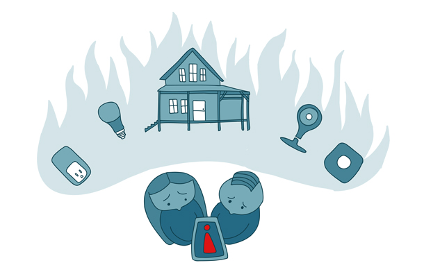 A couple imagining their house burning down after seeing a troubling icon in their IoT app.