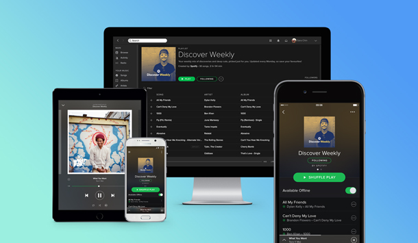 Music streaming service Spotify shown on iOS and Android smartphones, a tablet and a desktop monitor