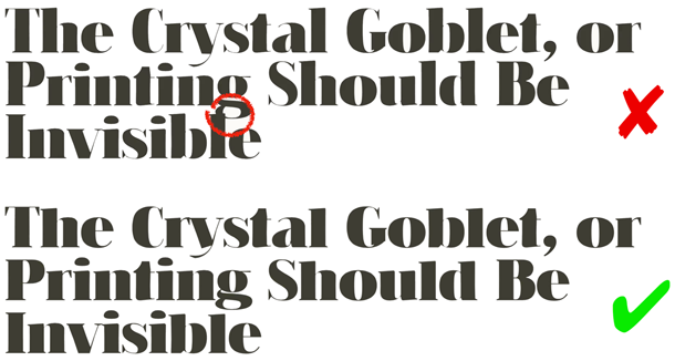 Headline examples showing how variable ascenders and descenders can help avoid collisions between lines of text.