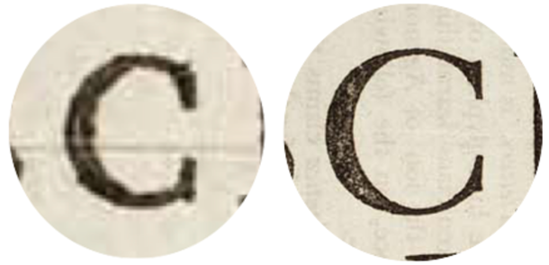 image showing the difference in physical stroke weight between 6pt and 72pt Garamond from the early 18th century.