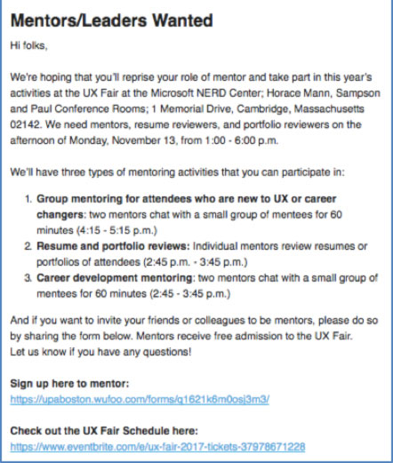 An email asking people to sign up to be mentors.