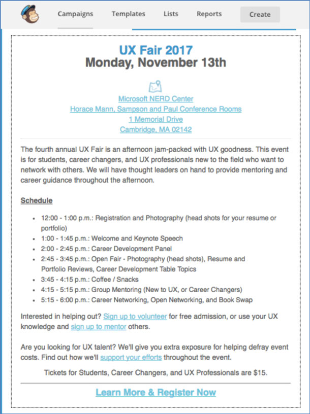 A newsletter announcing mentoring sessions.