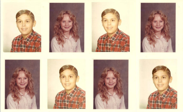 A series of eight photos of the same two children; two separate photos copied to make eight.