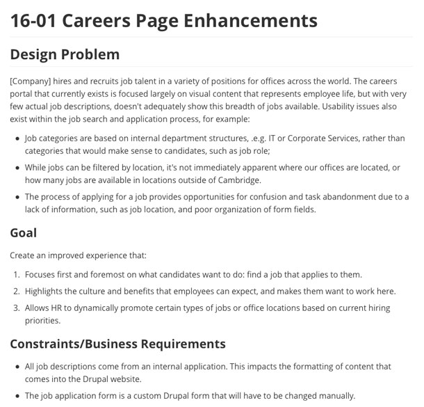 A screenshot of an example experience brief, showing the updated design problem, goals, and business requirements.
