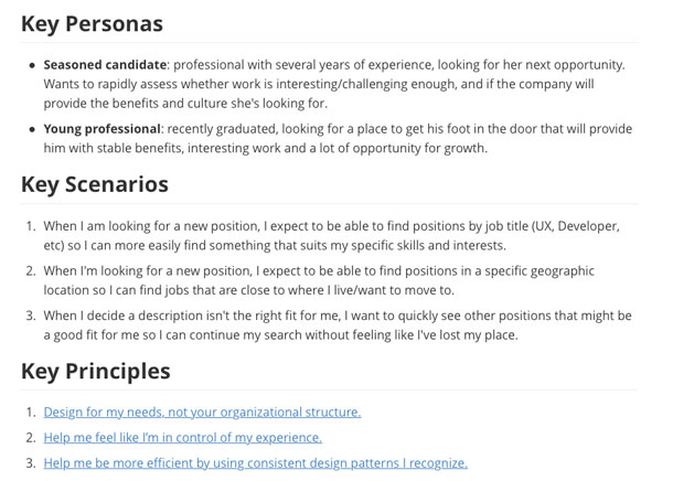 A screenshot of an example experience brief, showing the updated personas, job stories, and design principles.