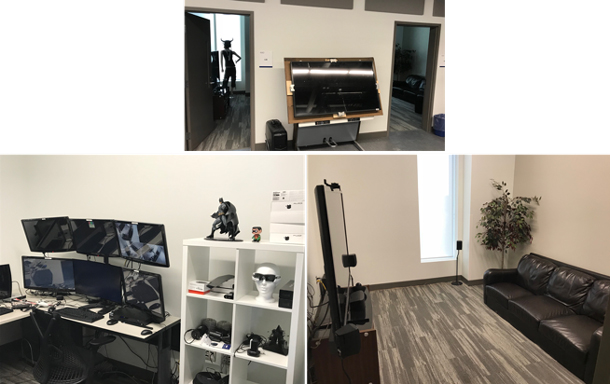 A group of three photos shows 3 different viewpoints of a user experience research lab for gaming, including an observation room with 6 monitors and multiple gaming devices, a playroom with a couch and a large screen for playing a game, and another room.