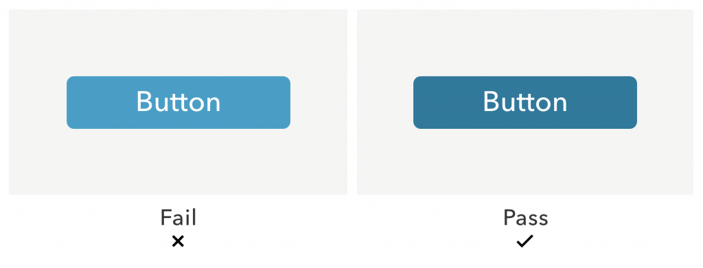 Two blue buttons with white text. The lighter blue button (left) fails WCAG requirements because there is not enough contrast between the white text and blue background. The darker blue button (right) passes the requirements because it has higher contrast.