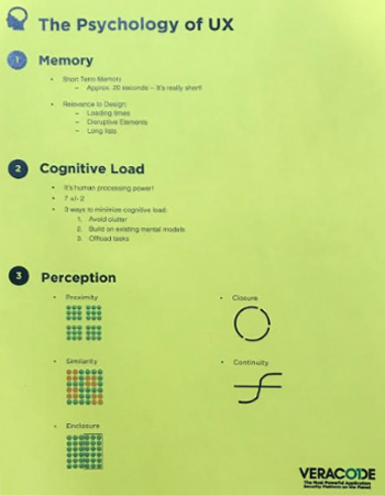 A brightly colored handout listing three relevant principles from the field of cognitive psychology: memory, cognitive load, and perception.