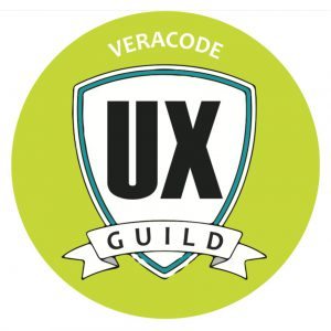 """A round, badge-like image with the words: """"veracode"""" and """"UX Guild."""""""