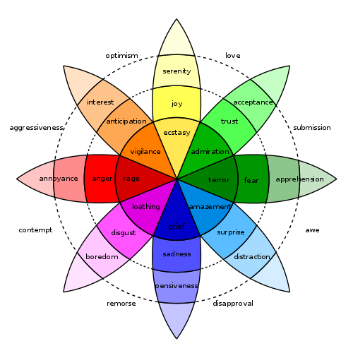 A colorful wheel shows a flower-like image with various negative and positive emotions, such as sadness, joy and acceptance.