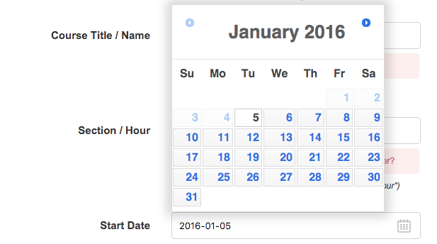 One-month calendar with start date choice.